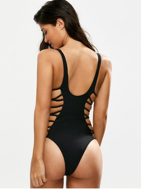 shop Crisscross Strap Cut Out Swimsuit - BLACK M Mobile