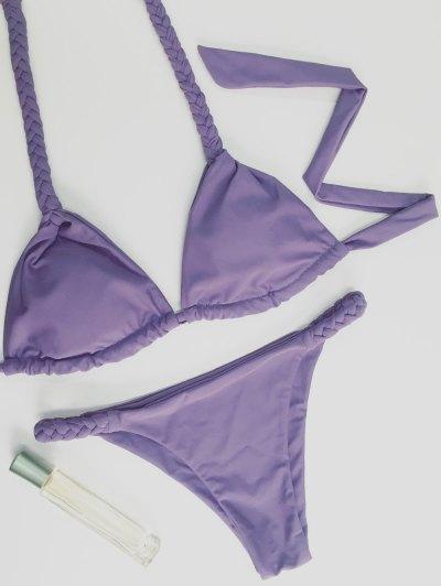 High Leg Knitted Bikini Set - PURPLE M Mobile