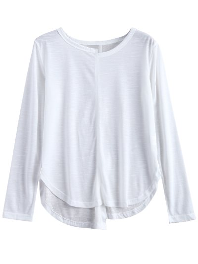 Slit Asymmetrical T-Shirt - WHITE XL Mobile
