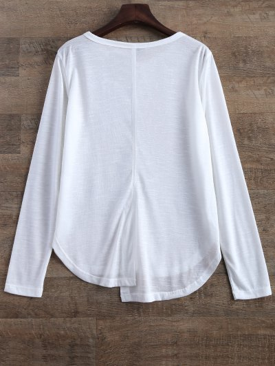 Slit Asymmetrical T-Shirt - WHITE M Mobile