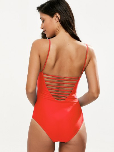 Hollow Out One-Piece Swimwear - RED L Mobile