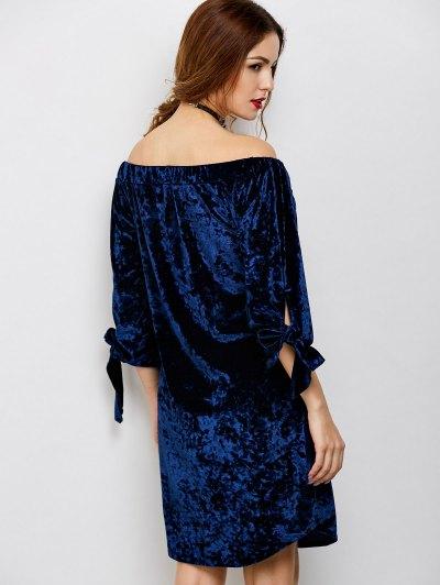 Off Shoulder Pleuche Dress - BLUE L Mobile