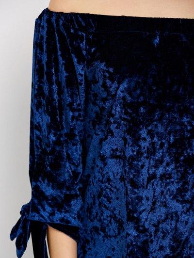 Off Shoulder Pleuche Dress - BLUE M Mobile