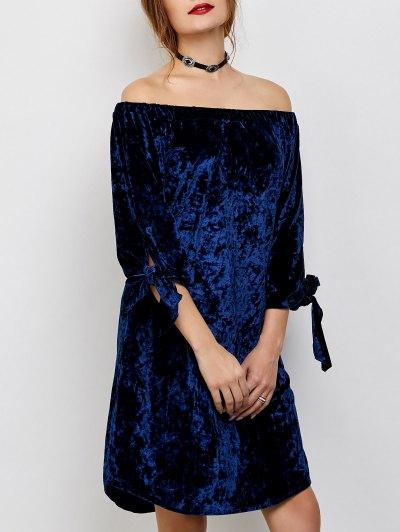 Off Shoulder Pleuche Dress - Blue