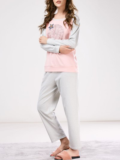 Two Tone Printed Tee with Pants Loungewear - PINK AND GREY XL Mobile