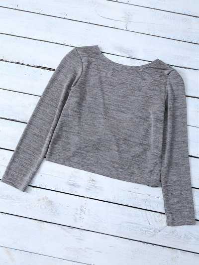 Heathered Long Sleeve Twist T-Shirt - GRAY XL Mobile