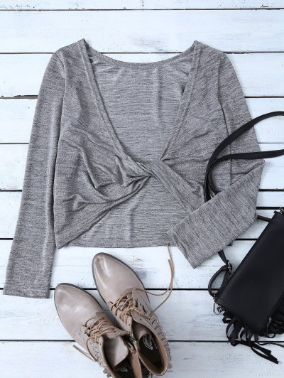 Heathered Long Sleeve Twist T-Shirt - GRAY M Mobile
