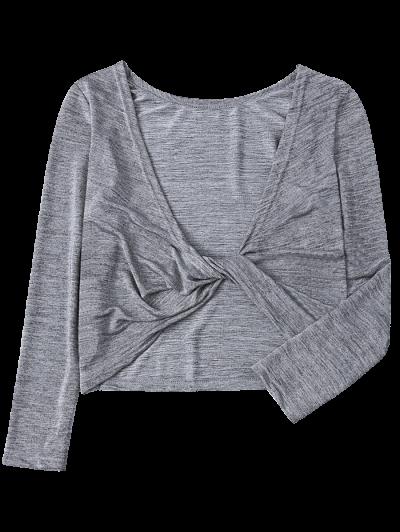 Heathered Long Sleeve Twist T-Shirt - GRAY S Mobile