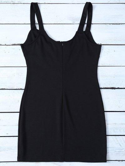 Straps Lace Up Bodycon Mini Dress - BLACK 2XL Mobile