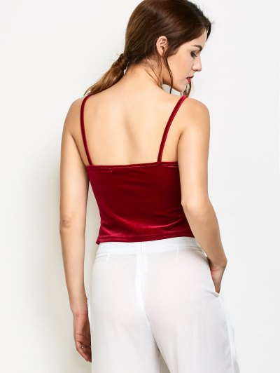 Velvet Camisole Tank Top - BURGUNDY XL Mobile