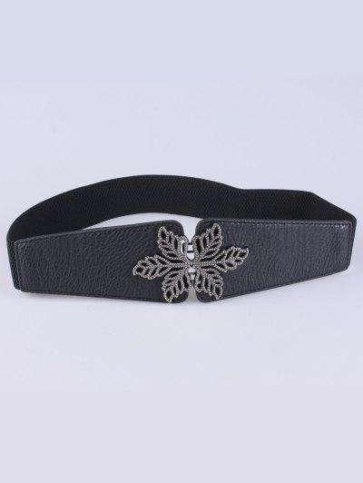 Vintage Floral Elastic Belt - BLACK  Mobile