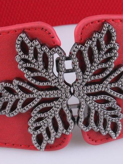 Vintage Floral Elastic Belt - RED  Mobile