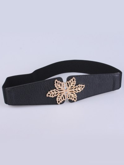 Hollowed Floral Elastic Belt - BLACK  Mobile