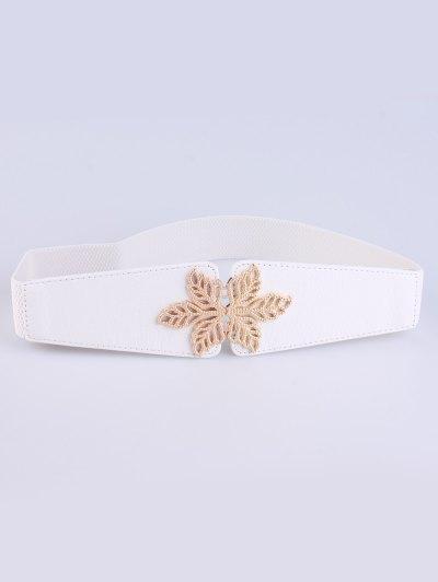 Hollowed Floral Elastic Belt - WHITE  Mobile