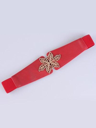 Hollowed Floral Elastic Belt - RED  Mobile