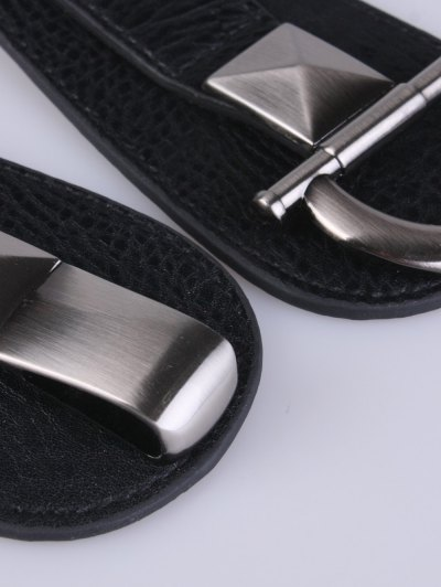 Hook Buckle Elastic Belt - BLACK  Mobile