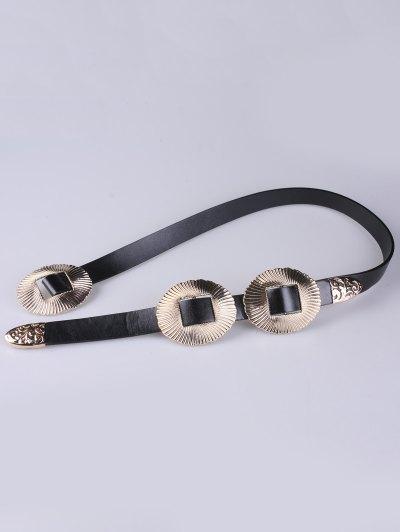 Scallop Faux Leather Belt - GOLDEN  Mobile
