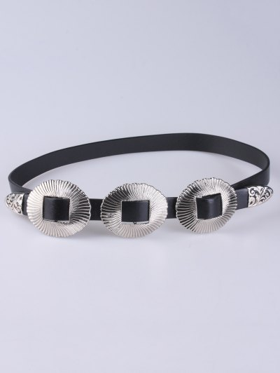 Scallop Faux Leather Belt - SILVER  Mobile