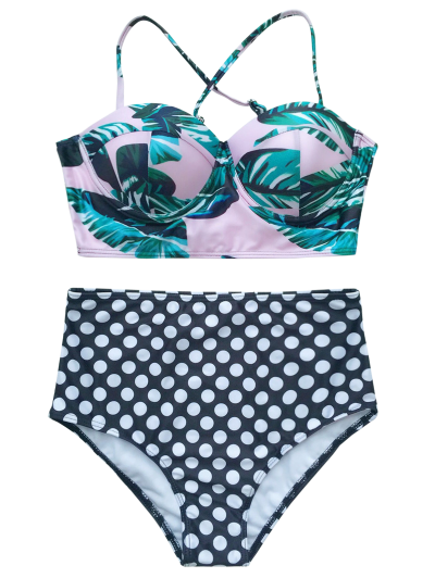 Push Up Polka Dot Bikini Set - GREEN L Mobile
