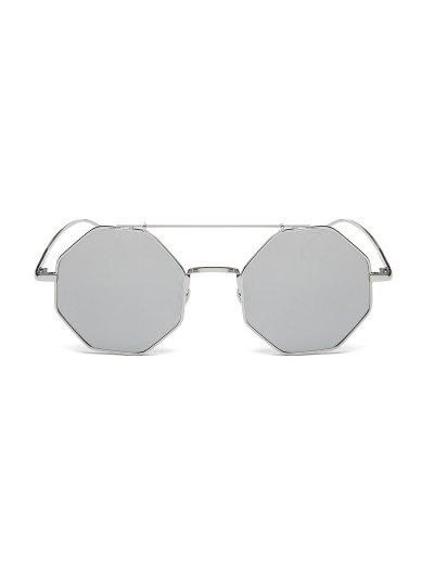 Crossbar Polygonal Metal Mirrored Sunglasses - SILVER  Mobile