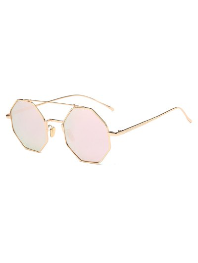 Crossbar Polygonal Metal Mirrored Sunglasses - SHALLOW PINK  Mobile