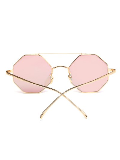 Crossbar Polygonal Metal Mirrored Sunglasses - PINK  Mobile