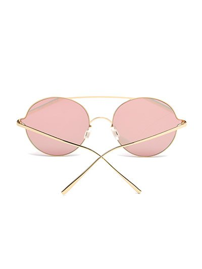 Crossbar Metal Round Mirrored Sunglasses - PINK  Mobile