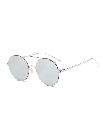 Crossbar Metal Round Mirrored Sunglasses - SILVER  Mobile