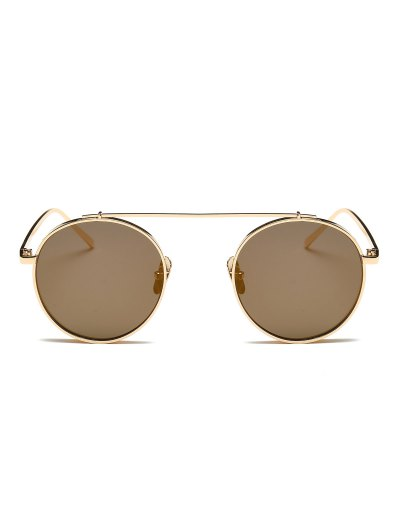 Chunky Frame Round Mirrored Sunglasses - CHAMPAGNE GOLD  Mobile