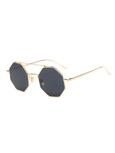Retro Crossbar Polygonal Metal Sunglasses - GOLDEN  Mobile