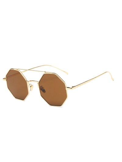 Retro Crossbar Polygonal Metal Sunglasses - TEA-COLORED  Mobile