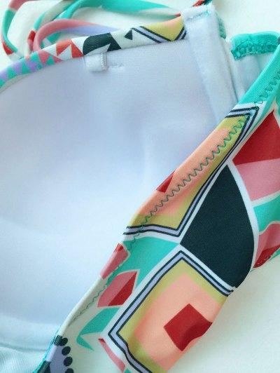 Push Up Geometric Print Bikini Set - COLORMIX L Mobile