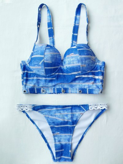 Notched Tie-Dyed Bikini Set - BLUE L Mobile