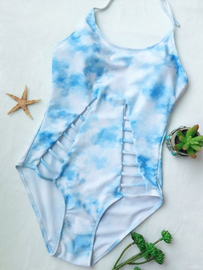 Cutout Tie-Dyed One-Piece Swimwear - LIGHT BLUE L Mobile