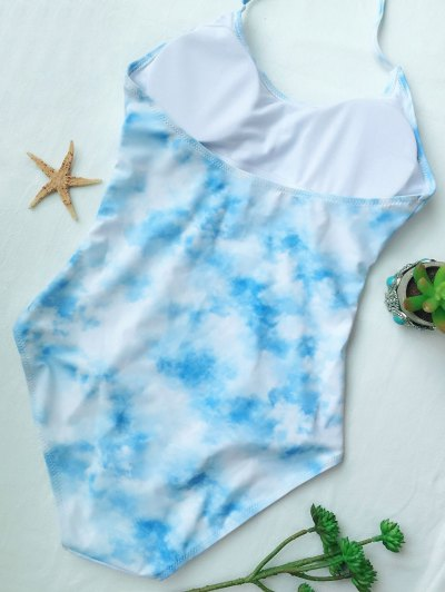 Cutout Tie-Dyed One-Piece Swimwear - LIGHT BLUE S Mobile