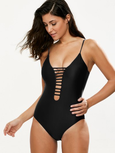 Hollow Out One-Piece Swimwear - BLACK XL Mobile