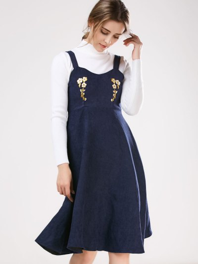 Embroidered Pinafore A-Line Dress With Knitwear - DEEP BLUE M Mobile