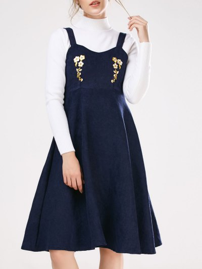 Embroidered Pinafore A-Line Dress With Knitwear - DEEP BLUE S Mobile