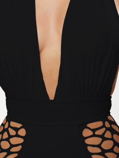 High Waisted Plunge Neck Hollow Out Swimsuit - BLACK S Mobile
