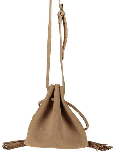 Drawstring Tassel Bucket Bag - KHAKI  Mobile