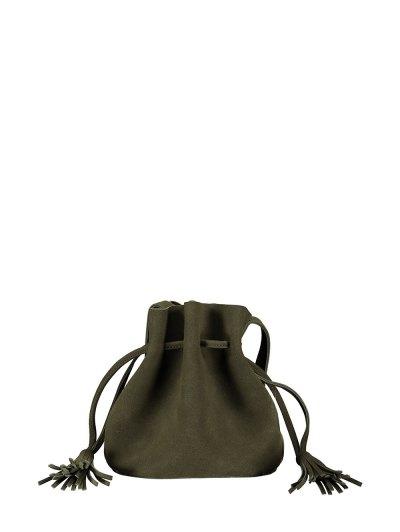 Drawstring Tassel Bucket Bag - BLACKISH GREEN  Mobile