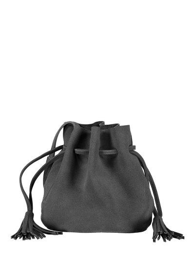 Drawstring Tassel Bucket Bag - DEEP GRAY  Mobile