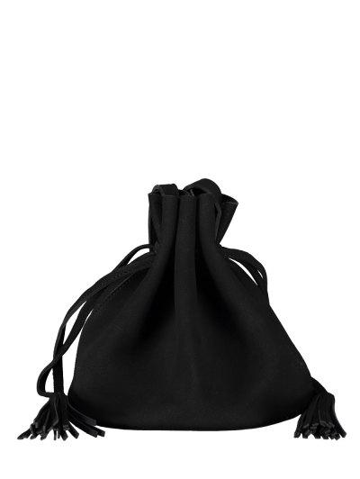 Drawstring Tassel Bucket Bag - BLACK  Mobile