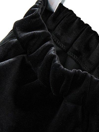 Siness Elastic Waist Velvet Pants - COFFEE ONE SIZE Mobile