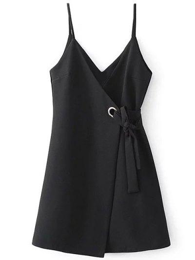 A Line Wrap Slip Dress - BLACK M Mobile