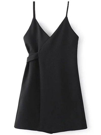 A Line Wrap Slip Dress - BLACK S Mobile