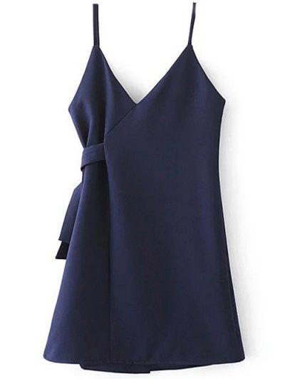A Line Wrap Slip Dress - PURPLISH BLUE S Mobile