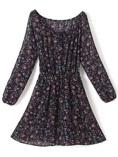 A Line Floral Long Sleeve Chiffon Dress - PURPLISH BLUE L Mobile