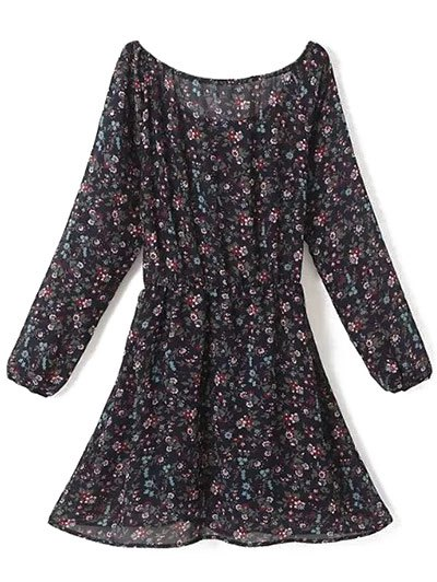 A Line Floral Long Sleeve Chiffon Dress - PURPLISH BLUE M Mobile