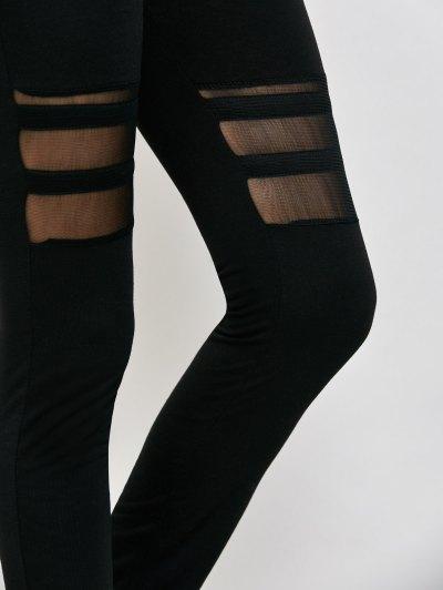 Mesh Panel See Thru Leggings - BLACK M Mobile